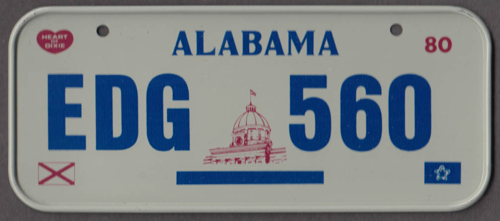 1980 Post Honeycomb Cereal license plate Alabama Heart of Dixie EDG 560
