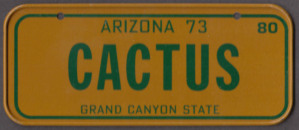 1980 Post Honeycomb Cereal license plate Arizona Grand Canyon State CACTUS