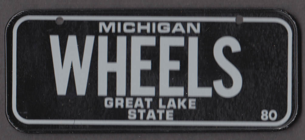 1980 Post Honeycomb Cereal license plate Michigan Great Lake State WHEELS