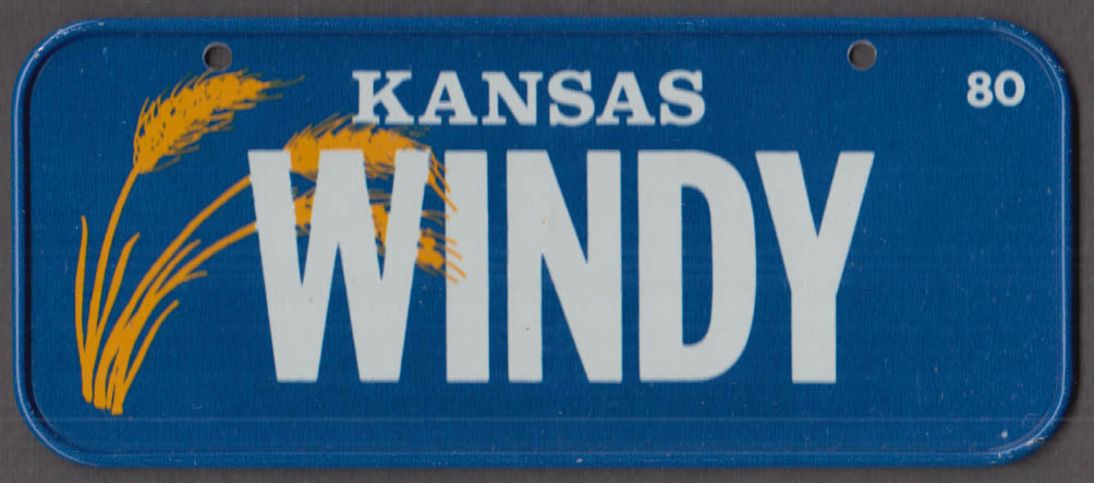1980 Post Honeycomb Cereal license plate Kansas - WINDY