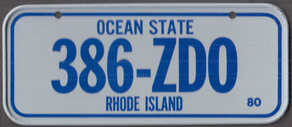 1980 Post Honeycomb Cereal license plate Rhode Island Ocean State 386-ZDO