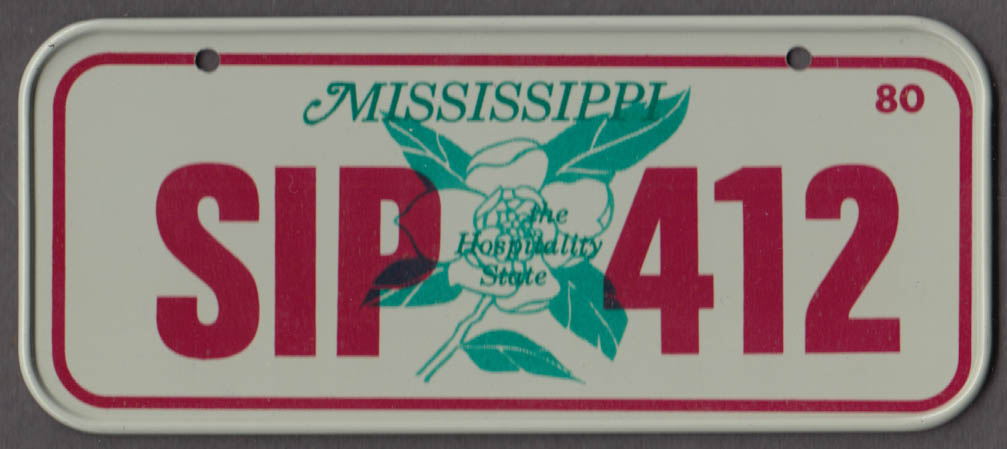 1980 Post Honeycomb Cereal license plate Mississippi Hospitality State SIP-412