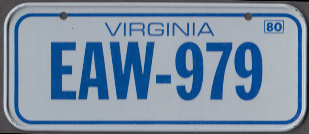 1980 Post Honeycomb Cereal license plate Virginia EAW-979