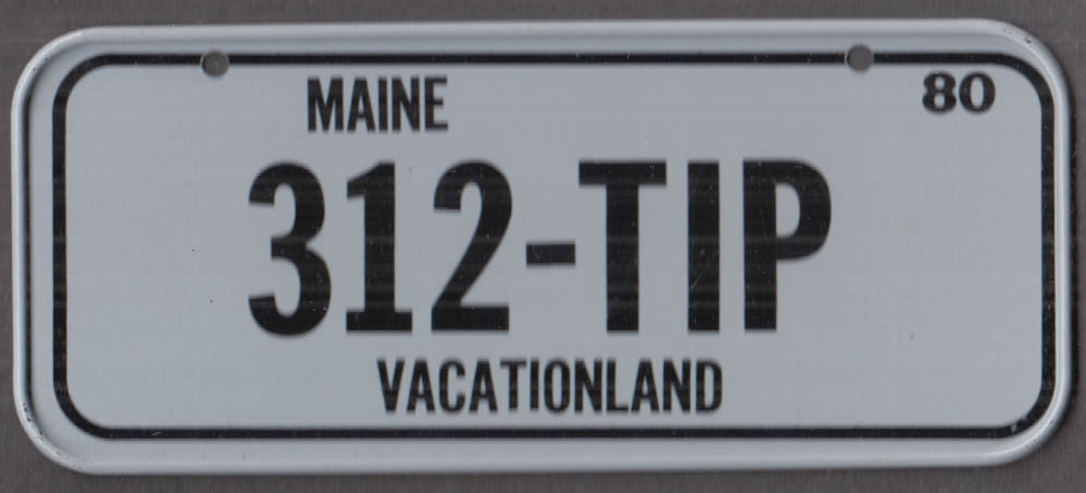 1980 Post Honeycomb Cereal license plate Maine Vacationland 312-TIP