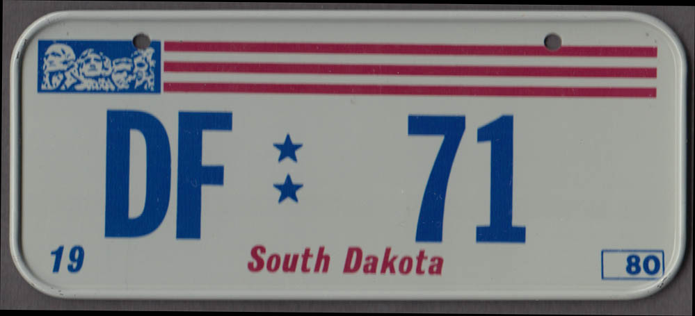 1980 Post Honeycomb Cereal license plate South Dakota DF 71