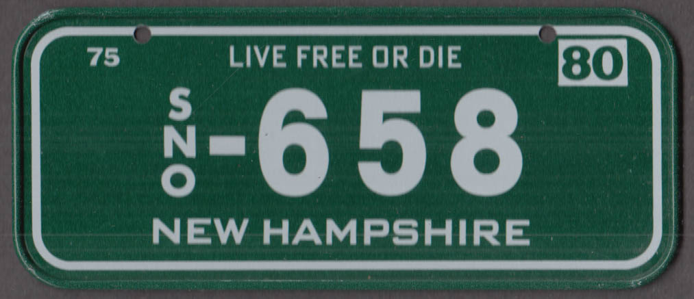 1980 Post Honeycomb Cereal license plate New Hampshire Live Free or Die SNO-658