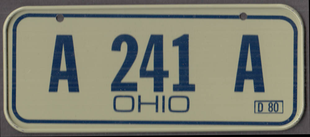 1980 Post Honeycomb Cereal license plate Ohio - A 241 A