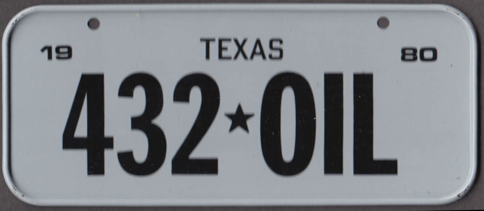 1980 Post Honeycomb Cereal license plate Texas - 432-OIL