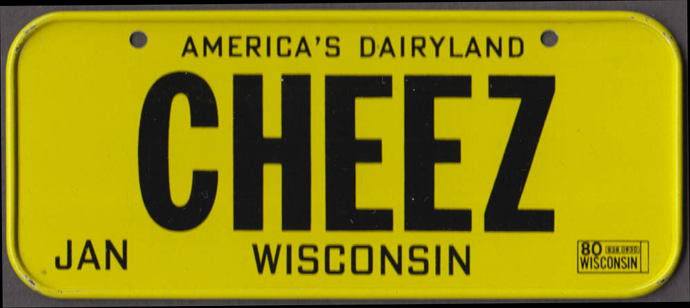 1980 Post Honeycomb Cereal license plate Wisconsin America's Dairyland CHEEZ