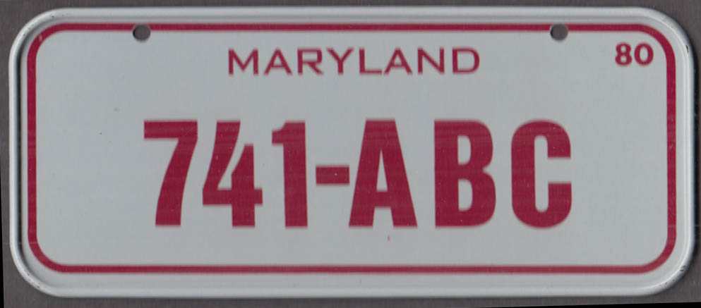 1980 Post Honeycomb Cereal license plate Maryland 741-ABC