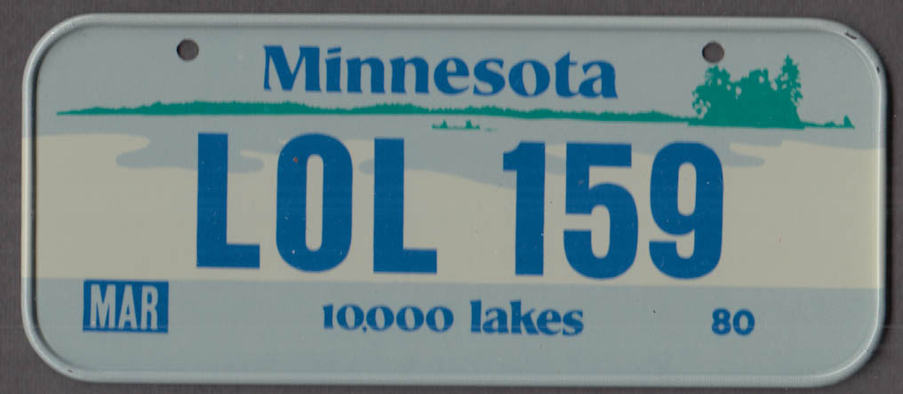 1980 Post Honeycomb Cereal license plate Minnesota 10,000 lajes LOL-159