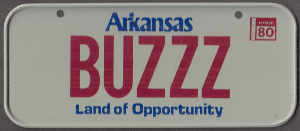 1980 Post Honeycomb Cereal license plate Arkansas Land of Opportunity BUZZZ