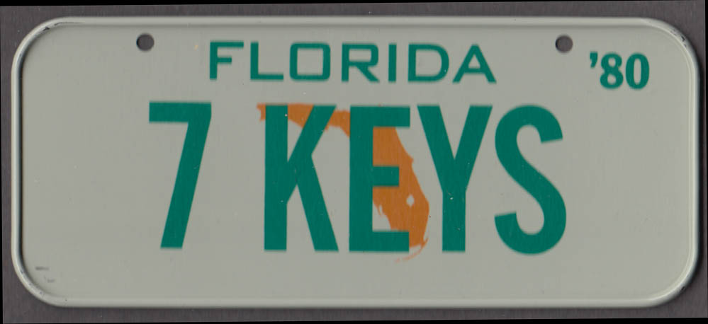 1980 Post Honeycomb Cereal license plate Florida - 7 KEYS