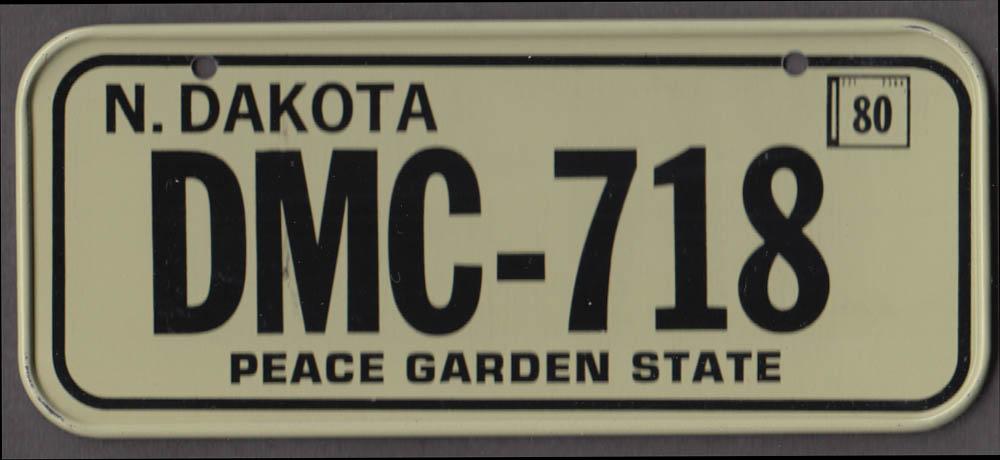 1980 Post Honeycomb Cereal license plate North Dakota Peace Garden State DMC-718