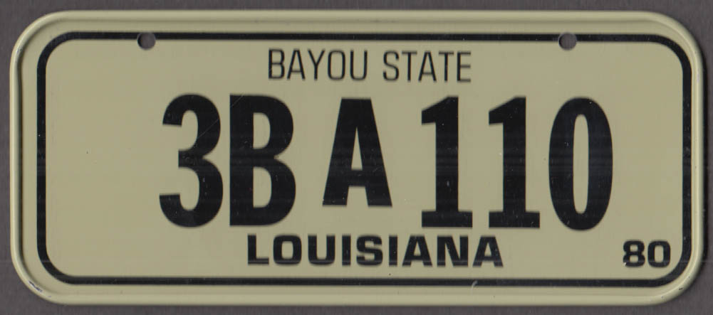 1980 Post Honeycomb Cereal license plate Louisiana Bayou State 3B-A-110