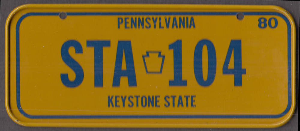 1980 Post Honeycomb Cereal license plate Pennsylvania Keystone State STA-104