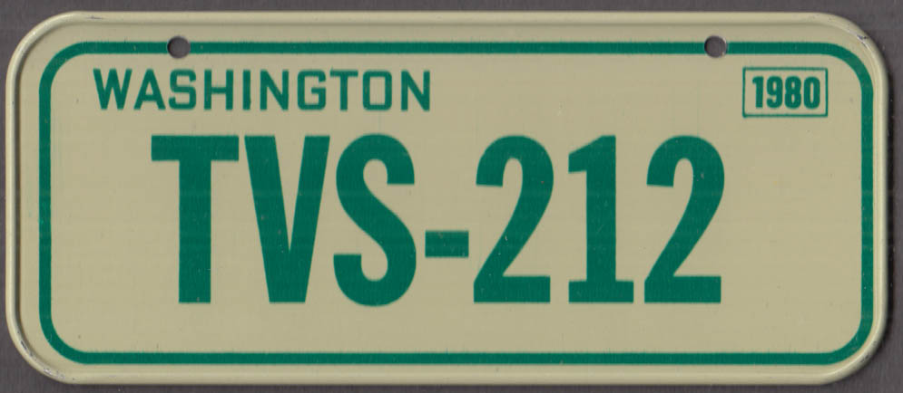 1980 Post Honeycomb Cereal license plate Washington State TVS-212