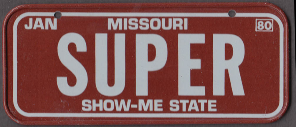 1980 Post Honeycomb Cereal license plate Missouri Show-Me State - SUPER