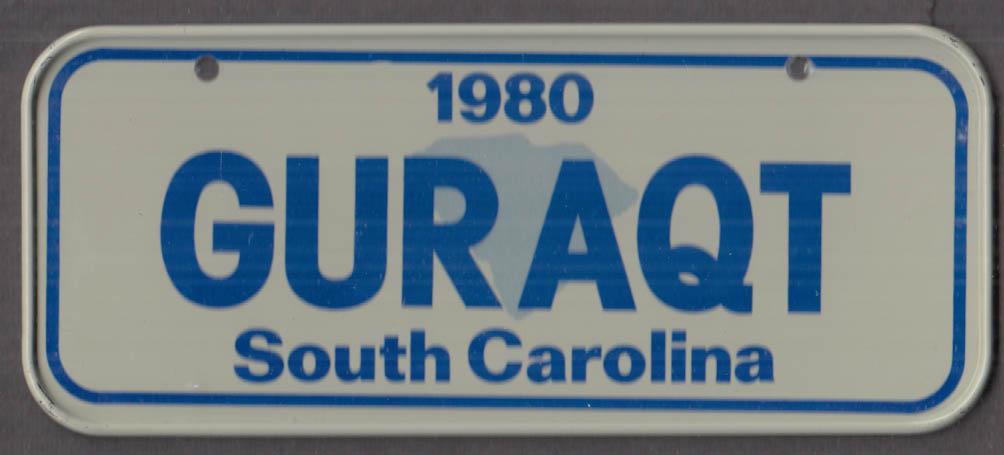 1980 Post Honeycomb Cereal license plate South Carolina - GURAQT
