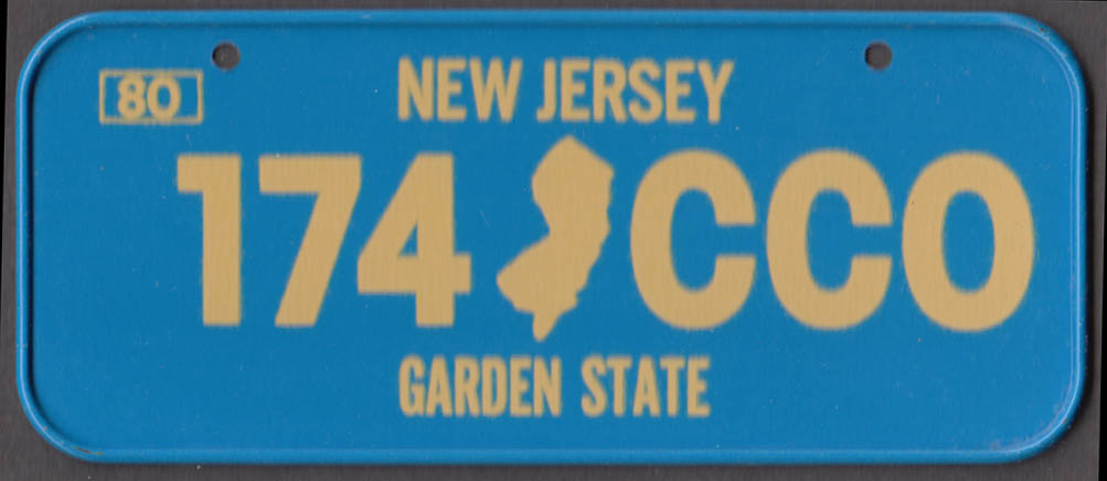 1980 Post Honeycomb Cereal license plate New Jersey Harden State 174-CCO