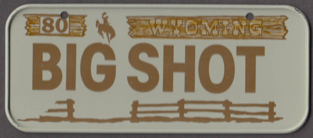 1980 Post Honeycomb Cereal license plate Wyoming - BIG SHOT