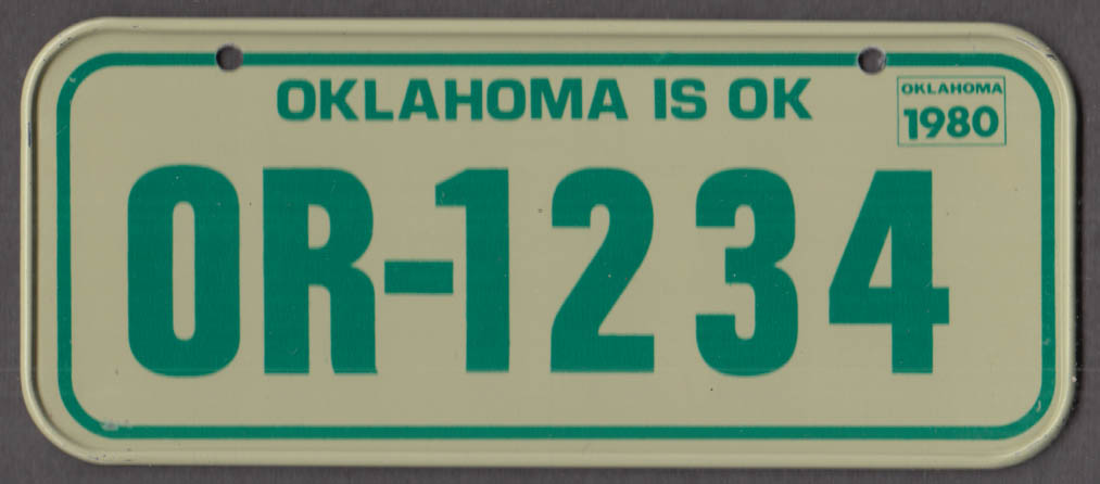 1980 Post Honeycomb Cereal license plate Oklahoma is OK - OR-1234
