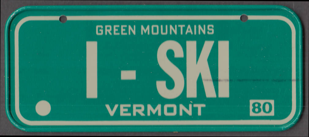 1980 Post Honeycomb Cereal license plate Vermont Green Mountains I-SKI