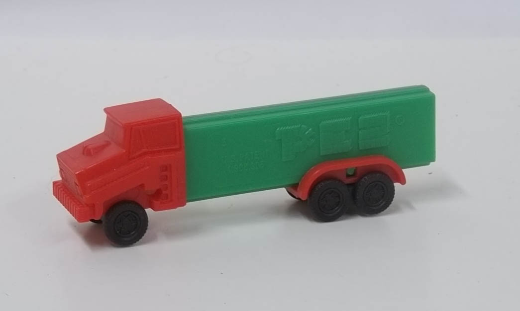 PEZ dispenser Green 6-wheel truck red cab 4.9 Made in Slovenia