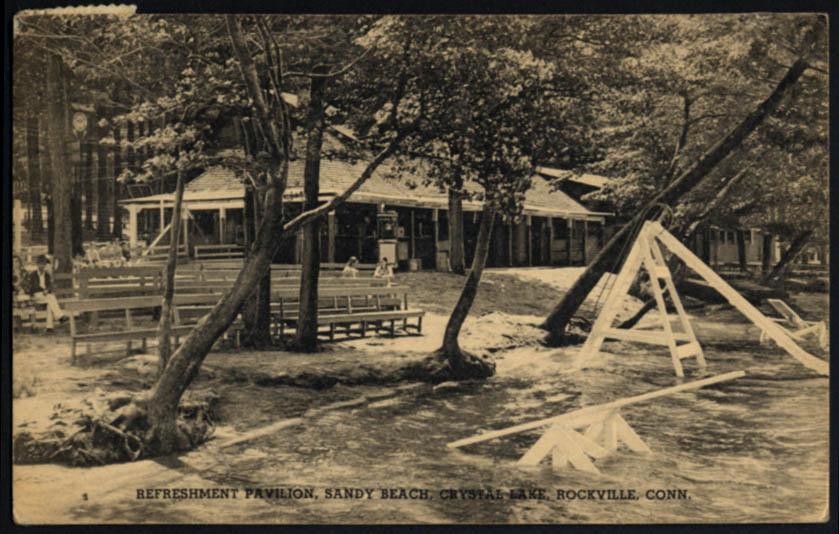 Image for Refreshment Pavilion Sandy Beach Crystal Lake Rockville CT postcard 1939