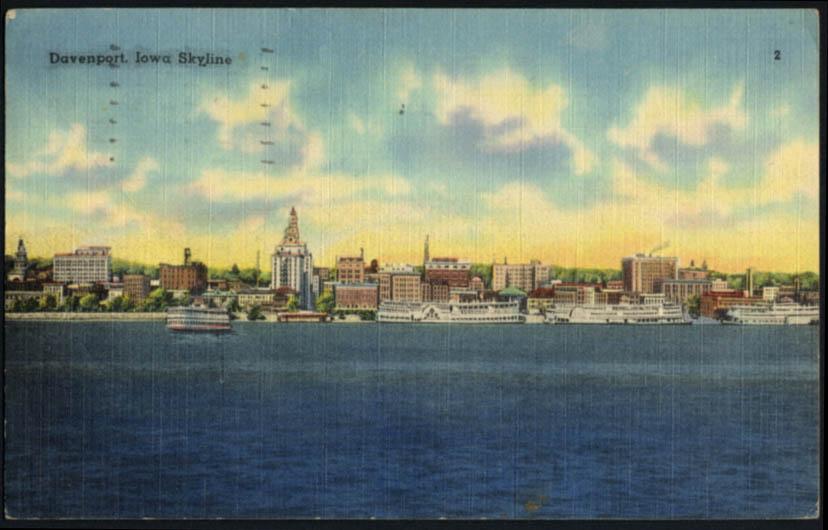 Image for Riverfront skyline with riverboats Davenport IA postcard 1946