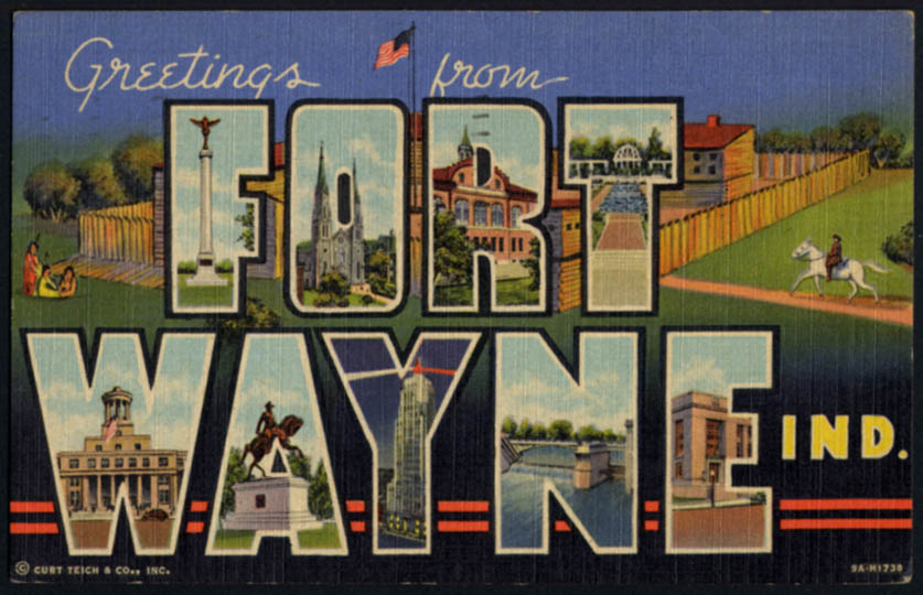 Image for Greetings from FORT WAYNE IN Large Letter postcard 1953