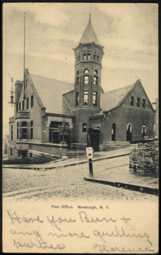 Image for United States Post Office at Newburgh NY undivided back postcard 1906