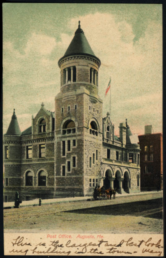 Image for United States Post Office Augusta ME undivided back postcard 1908