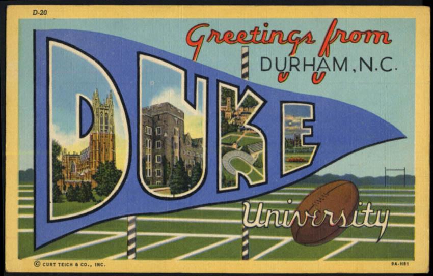 Image for Greetings from DUKE UNIVERSITY Durham NC Large Letter postcard 1944