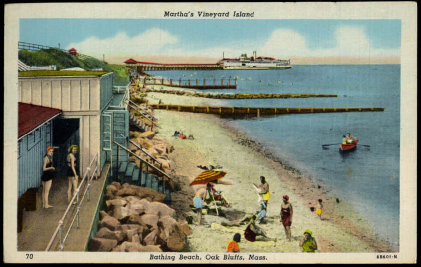 Image for Bathing Beach Oak Bluffs Martha's Vineyard MA postcard 1949