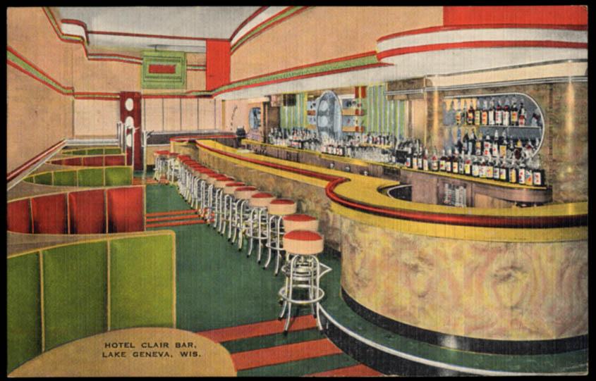 Image for The Bar at Hotel Clair Lake Geneva WI postcard 1942