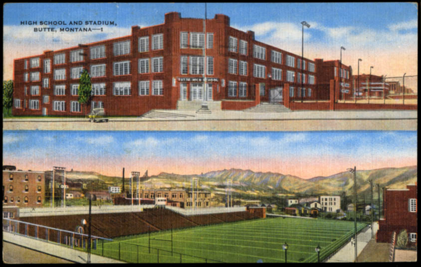 Image for The High School & Football Stadium Butte MT postcard 1950