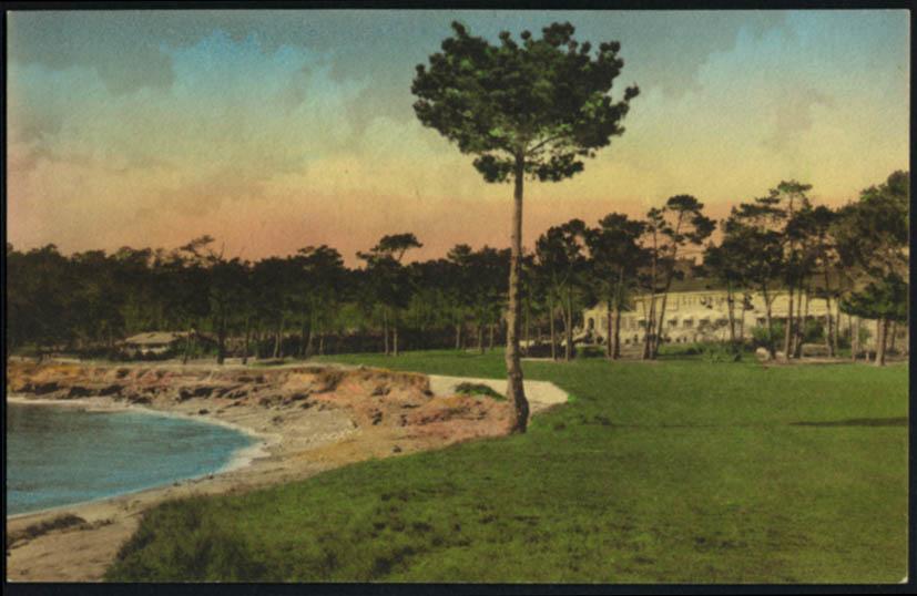 Image for Ocean front at Del Monte Lodge Del Monte CA postcard 1930s