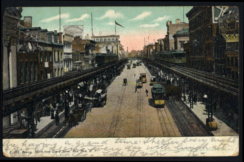 Image for Bowery looking North from Grand St Elevated Railway New York City postcard 1909