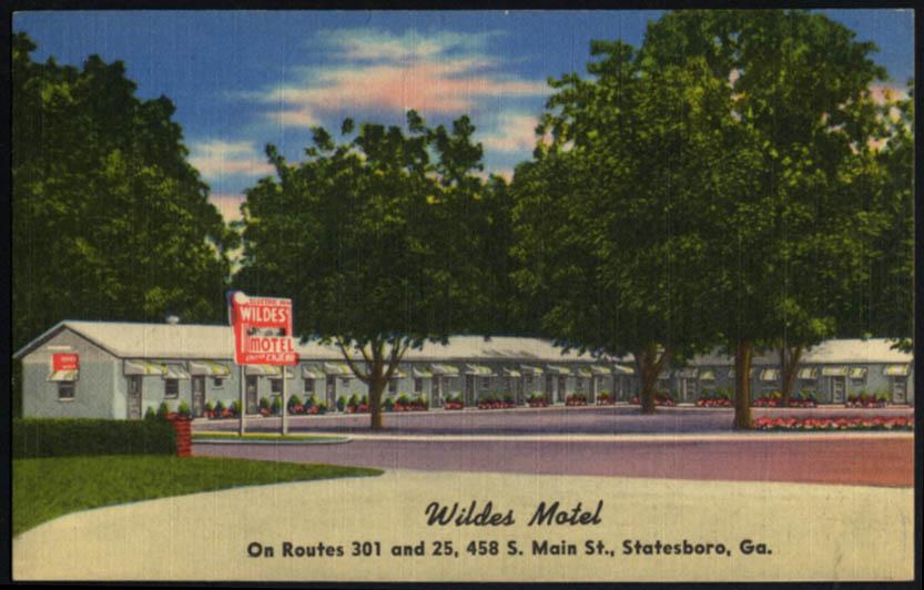 Image for Wildes Motel Routes 301 & 25 458 S Main St Statesboro GA postcard 1930s