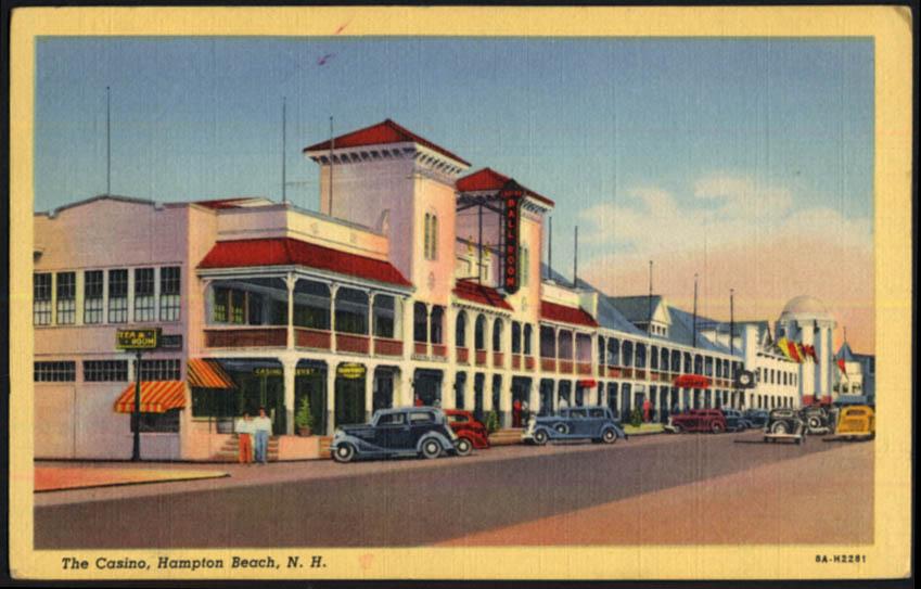 Image for The Casino & Tea Room at Hampton Beach NH postcard 1943