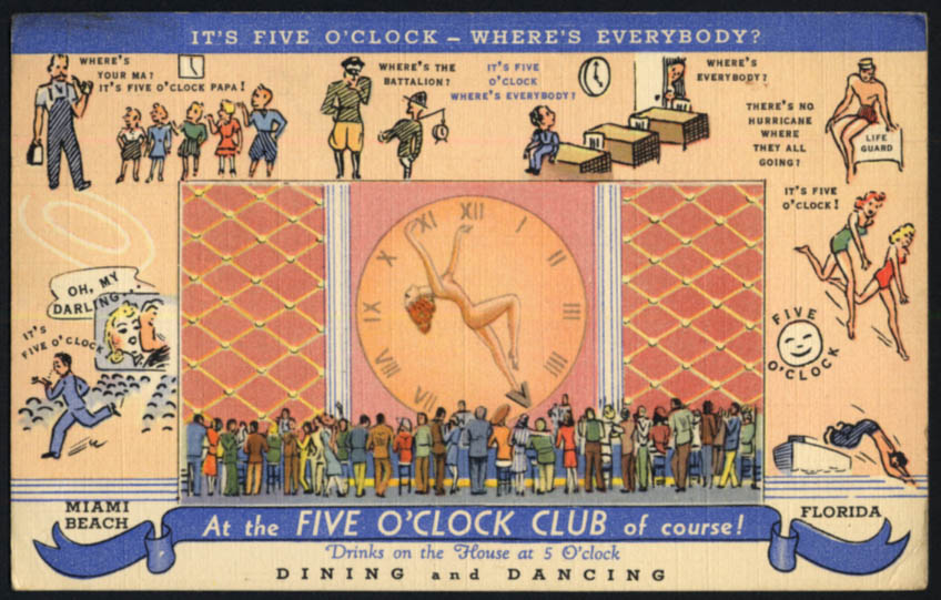 Image for Brothers Barken Five O'Clock Club nightclub Miami FL postcard 1945