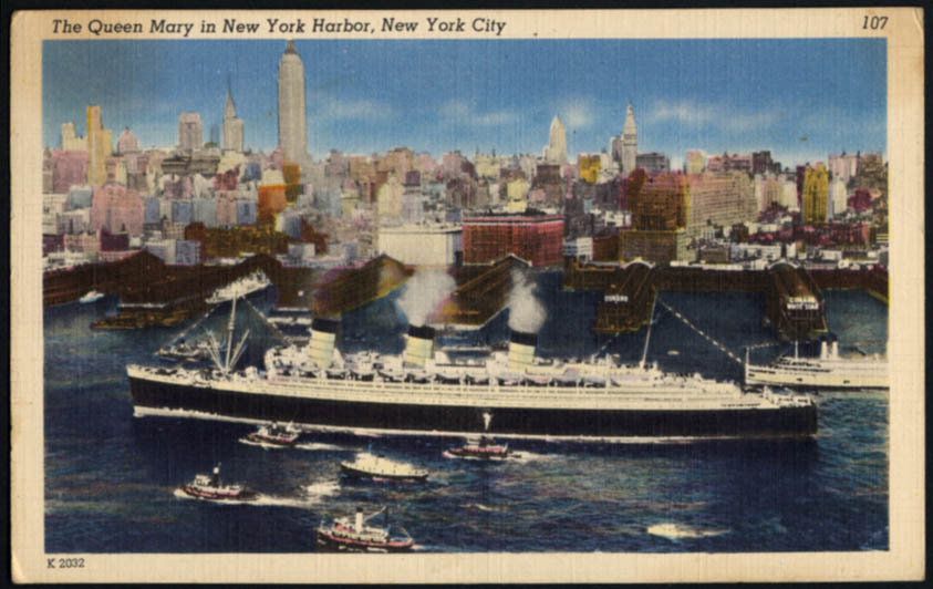 Image for Cunard Line R M S Queen Mary New York Harbor postcard 1950