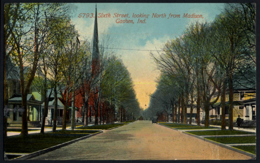 Image for Sixth Street looking North from Madison at Goshen IN postcard 1914