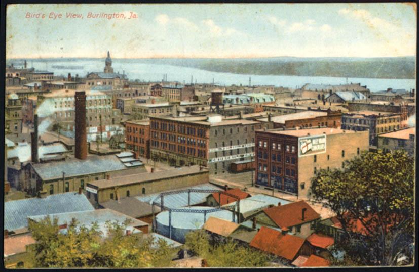 Image for Bird's eye View of Burlington IA Churchill Drug building postcard 1909