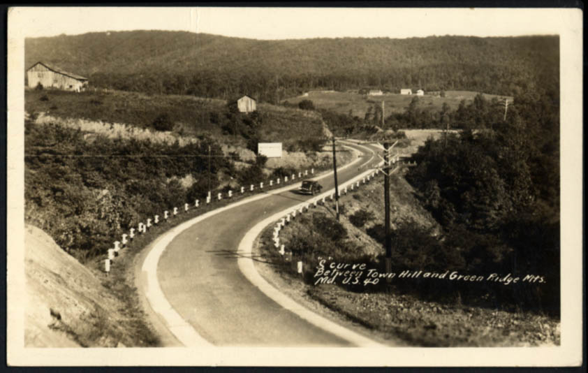 Image for S-Curve between Hill & Green Ridge Mountains US 40 MD RPPC postcard 1949