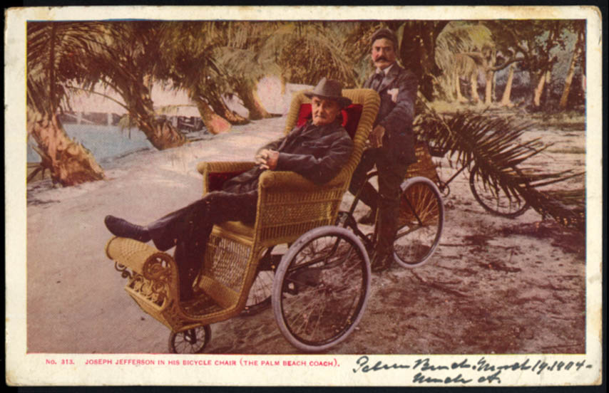 Image for Joseph Jefferson in Palm Beach Coach Bicycle Chair FL postcard 1904