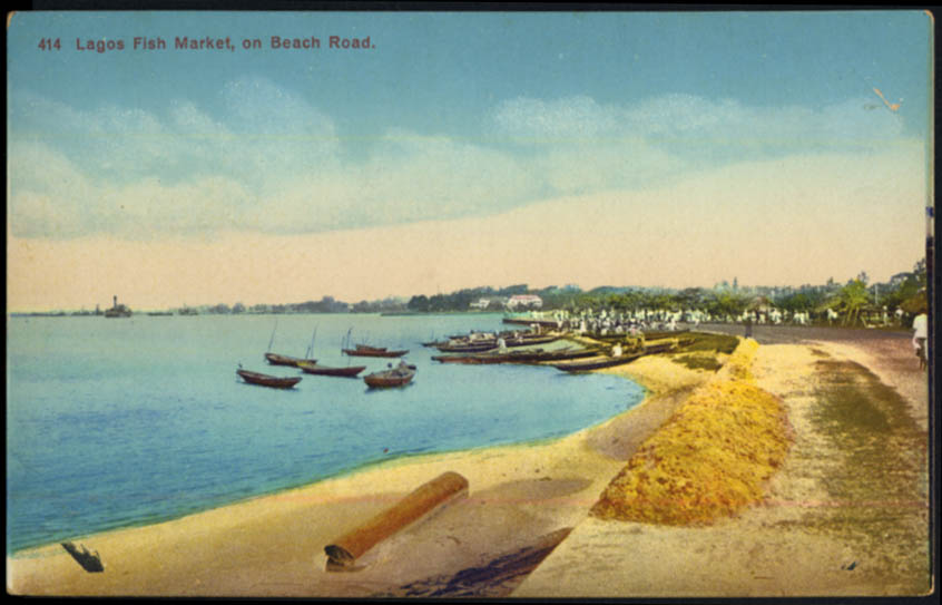 Image for Oceanfront Fish Market on Beach Road Lagos Nigeria postcard ca 1910