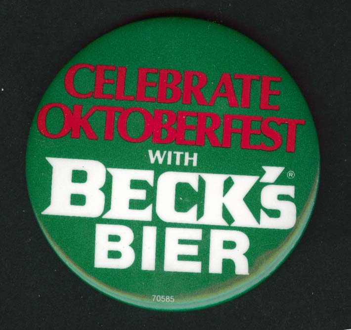 Celebrate Oktoberfest with Beck's Bier pinback button