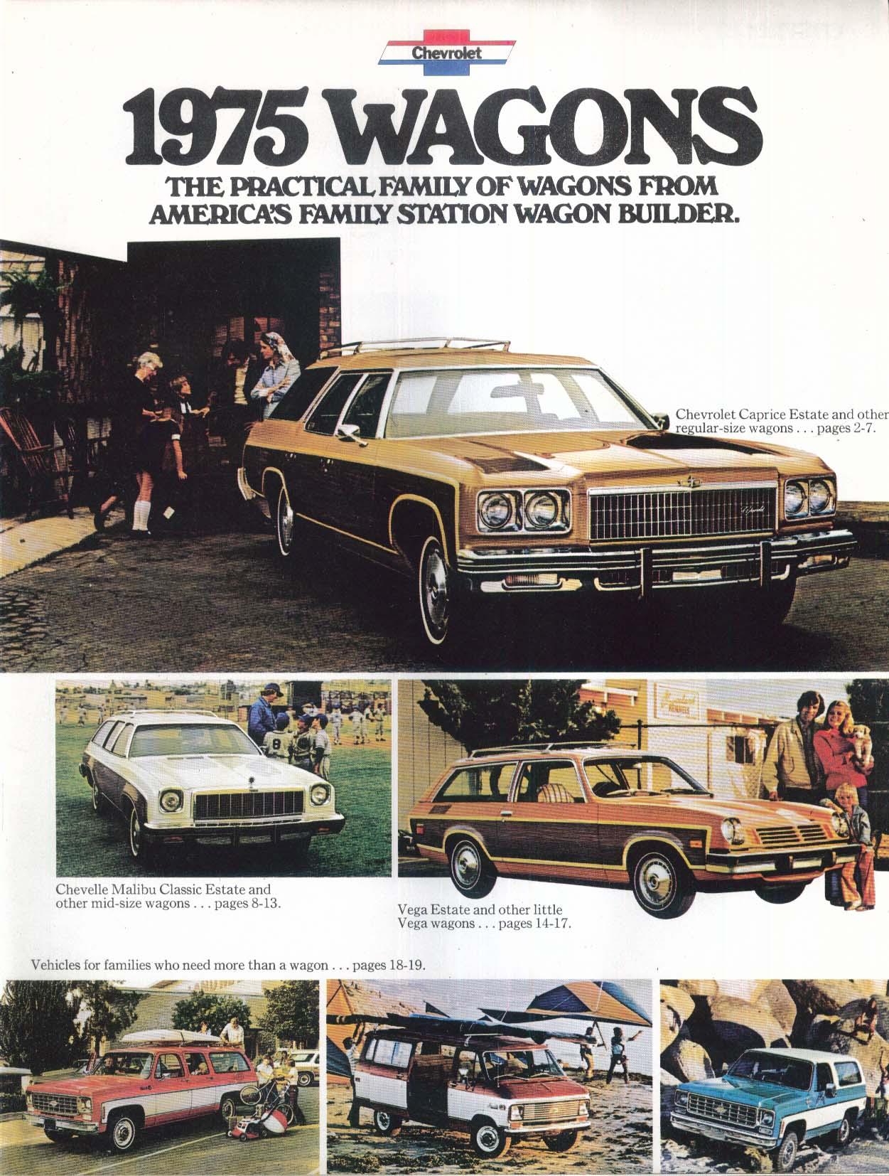 1975 Chevrolet Wagons sales brochure: Caprice Impala Malibu Vega Blazer Suburban